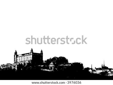 Castle silhouette against white (vector, illustration) - stock vector