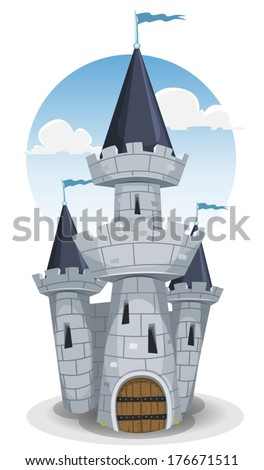 Castle Tower/ Illustration of a cartoon old medieval castle fortress, with donjon tower, rocks and stones wall, big wood armored door and flags in the wind - stock vector