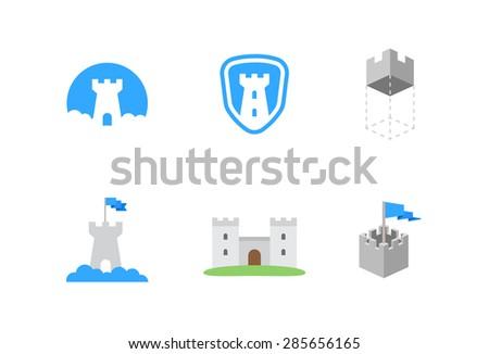 castles flat vector symbols for branding - stock vector