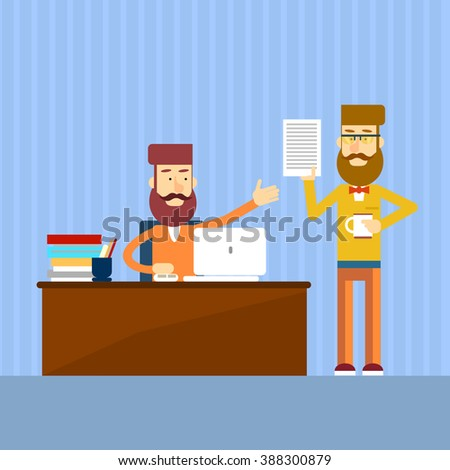 Casual Businessmen Sitting Office Desk Colleagues Working Document Business Report Vector Illustration - stock vector