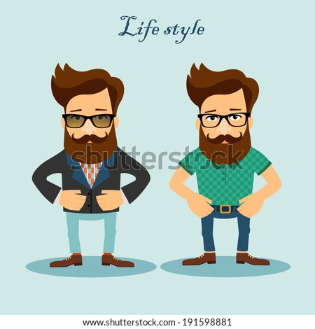 Casual male handsome people cartoon characters. Fashioned life style vector illustration. - stock vector