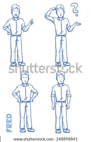 Casual man illustration in different emotions and poses, angry, happy, thoughtful, clueless, hand drawn sketch - Fred part 2 - stock vector