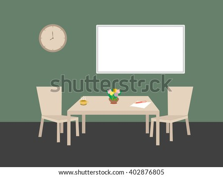 Casual meeting room with empty board
