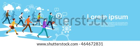 Casual People Group Walking Business Abstract Background Banner Flat Vector Illustration