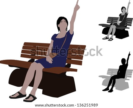 Casual woman sitting a bench in Park