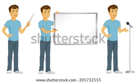 Casually dressed happy cartoon man in presenting poses, pointing, writing, and speaking - stock vector