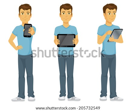 Casually dressed happy cartoon man with technology, holding out a touch screen phone, showing and using a digital tablet - stock vector