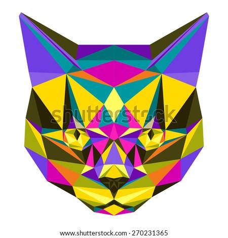 Cat. Abstract cat. Motley cat. Cat icon. Cat. Polygonal cat. Cat. cat icon. Geometric cat. Cat. Isolated cat. Cat on white. Cat card. Cat card, book, poster, banner, book. Abstract cat. Cat icon. Cat. - stock vector