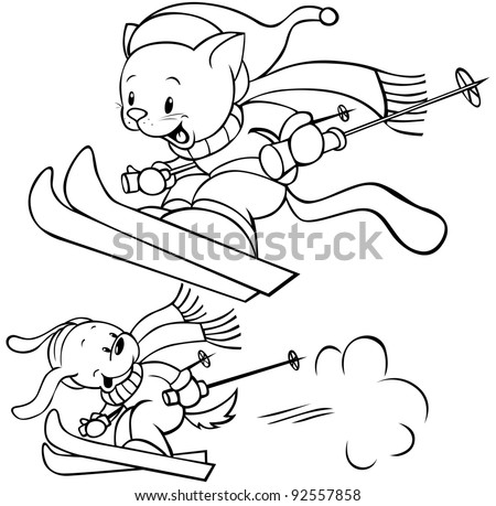 cat an dog skiing - stock vector