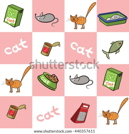 Cat and accessories for care. Vector illustration seamless background with square and inscription cat. Red cats and things. - stock vector
