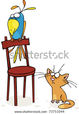 Cat and big parrot - stock vector