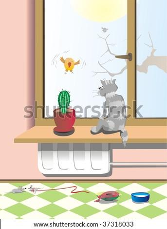 cat and cactus on windowsill - stock vector