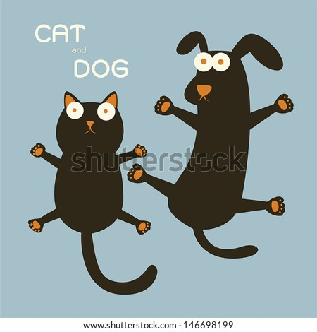 Cat and Dog - stock vector