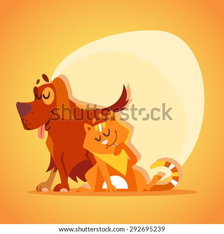 Cat and dog character. Mascot design. Vector illustration