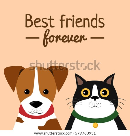 Cat and Dog characters. Best friend forever, vector illustration.