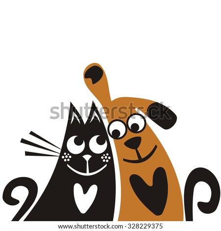 Cat and dog friends cute cartoon vector illustration - stock vector