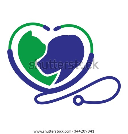 cat and dog logo vector. - stock vector
