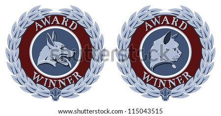 Cat and dog portrait victory laurels designs for pet competition winners or similar - stock vector