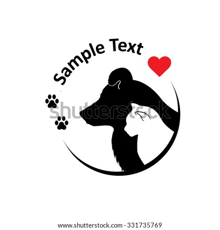 Cat and dog silhouettes. Round sighn, can use for pet shop logo, veterinary clinic, etc. Vector illustration. - stock vector