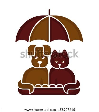 Cat and dog under an umbrella - stock vector