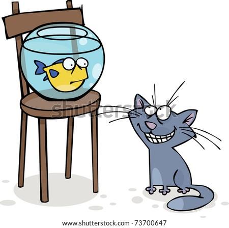 Cat and fish in the aquarium - stock vector