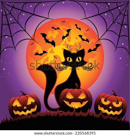 Cat and Halloween pumpkins against full moon at night  - stock vector