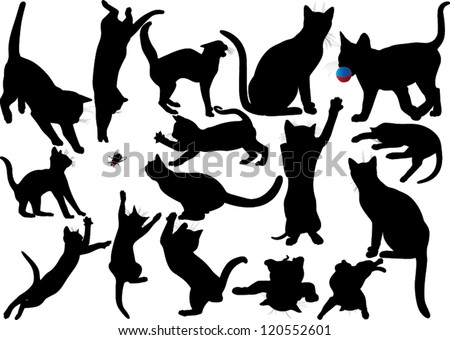 Cat and kitten vector silhouette on white background. WIth moustaches. Layered. Fully editable - stock vector