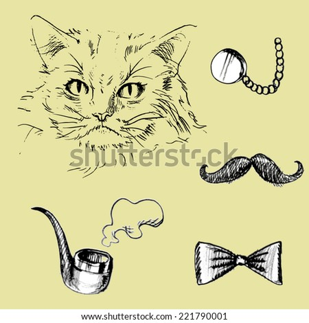 Cat and pipe, bow tie, glasses, mustache.vector - stock vector