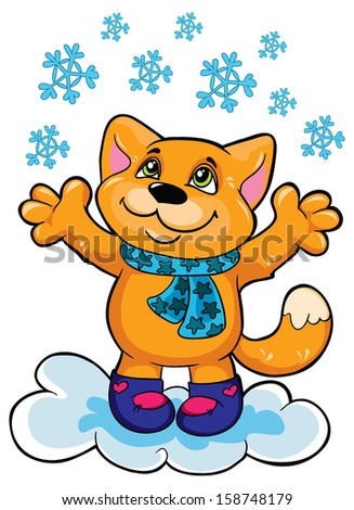 Cat and snow on a white background, vector illustration - stock vector