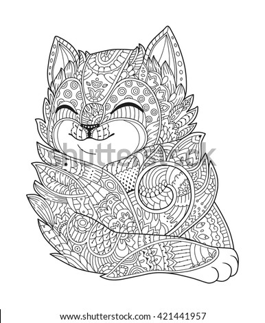 Cat black white vector zen art hand drawn fat fluffy animal portrait in zentangle