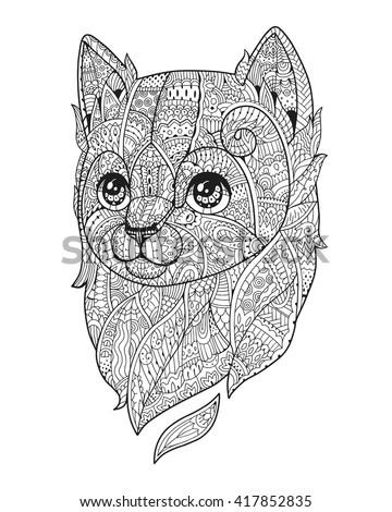 cat black white vector zen art hand drawn fluffy animal portrait in zentangle - Cat Black White Coloring Page