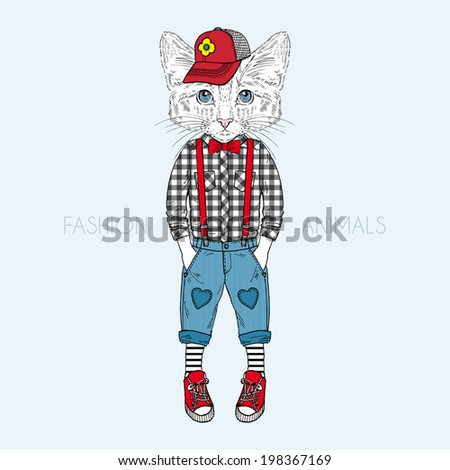 cat boy kid dressed up in casual style - stock vector