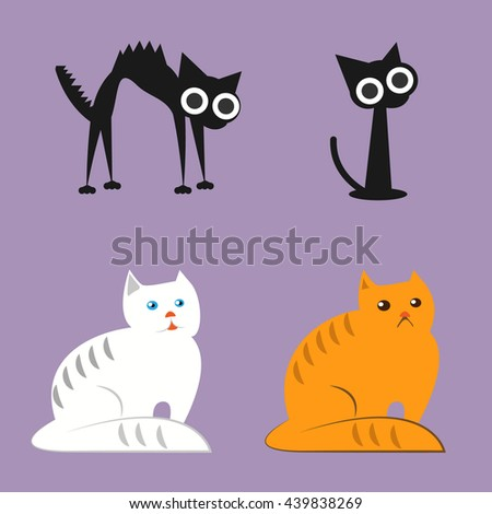 Cat Breed Set, with black cat, white cat, red cat. Vector Illustration Cartoon.