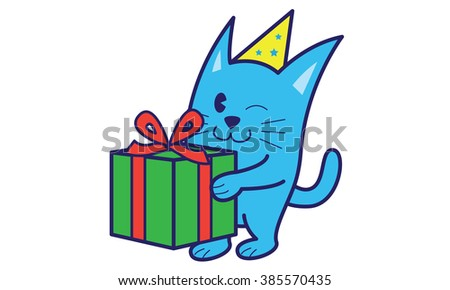 Cat bring gift - stock vector