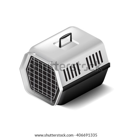 Cat carrier isolated on white photo-realistic vector illustration