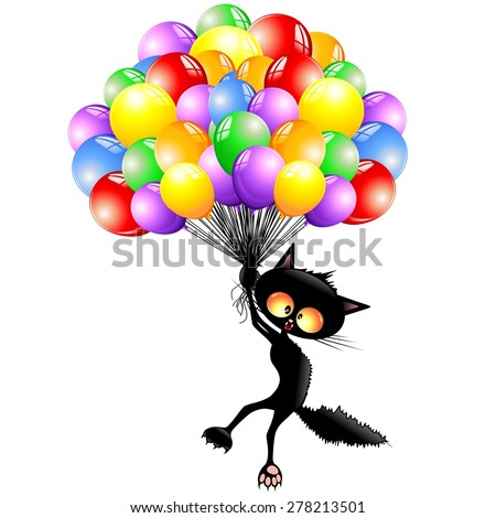 Cat Cartoon Flying with Balloons - stock vector
