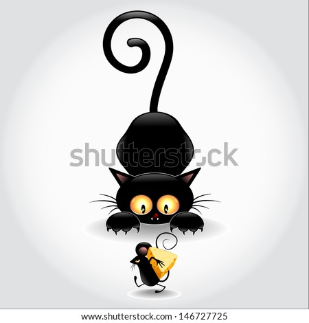 Cat Cartoon in Ambush and Little Mouse  - stock vector