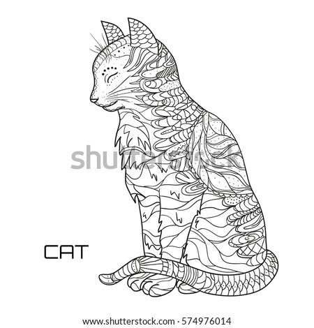 Cat Design Zentangle Hand Drawn Cat Stock Vector 574976014 ...