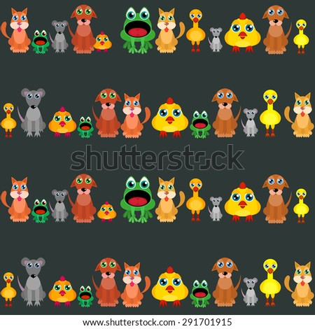 cat, dog, duck, chicken, rat and and frog - a pattern of vector animals flat - stock vector