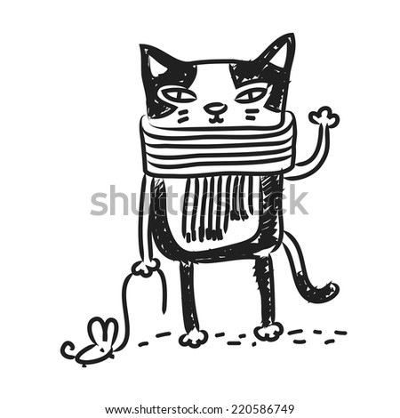 Cat drawing, doodle. Funny cartoon kitten, vector line art.  - stock vector