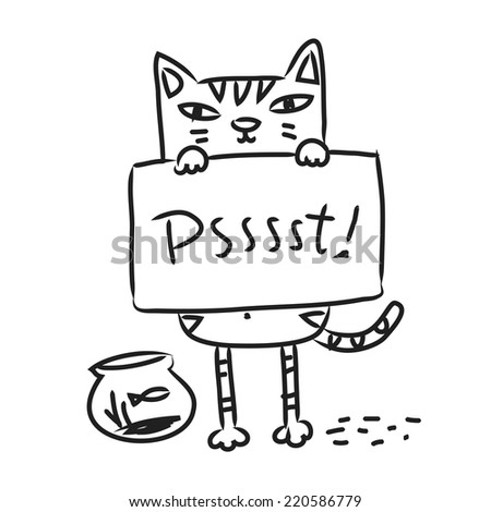 Cat drawing, line art doodle. Cartoon kitten holding a sign, vector illustration. - stock vector