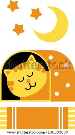cat dream aÂ?Â? vector illustration, home for the cat, cat sleeps - stock vector