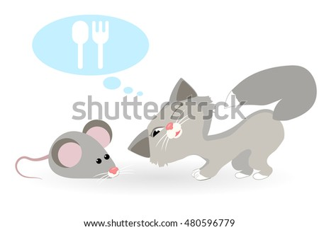 Cat dreams of mouse. Cat wants to eat mouse. Vector illustration.