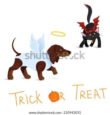 Cat dressed like Devil vs Dog dressed like Angel on Halloween. Greeting Card. Vector Illustration. - stock vector
