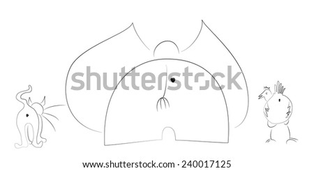 Cat, elephant and chicken walking silhouettes. Vector illustration. - stock vector