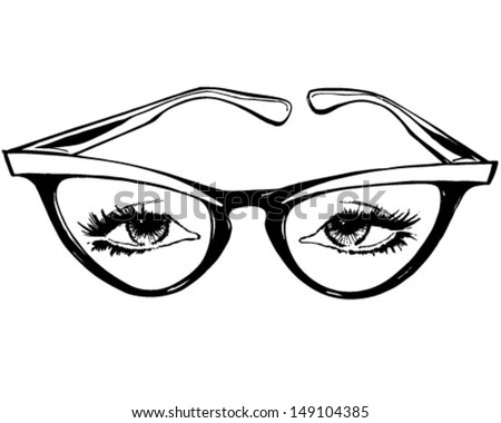 Cat Eye Glasses - Retro Clip Art Illustration - stock vector