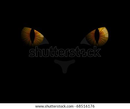 Cat  eyes in darkness - stock vector