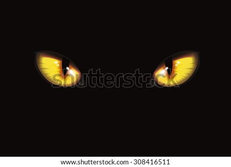 Cat eyes on black background | Art vector illustration | Halloween character - stock vector