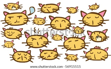 cat faces - stock vector