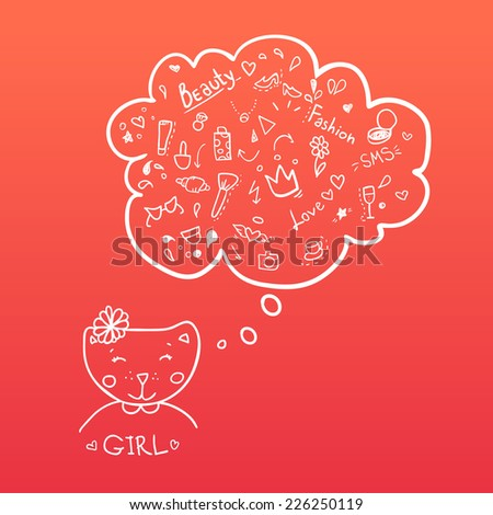 Cat girl is beauty with thoughts of fashion. Illustration. Vector. Speech bubbles